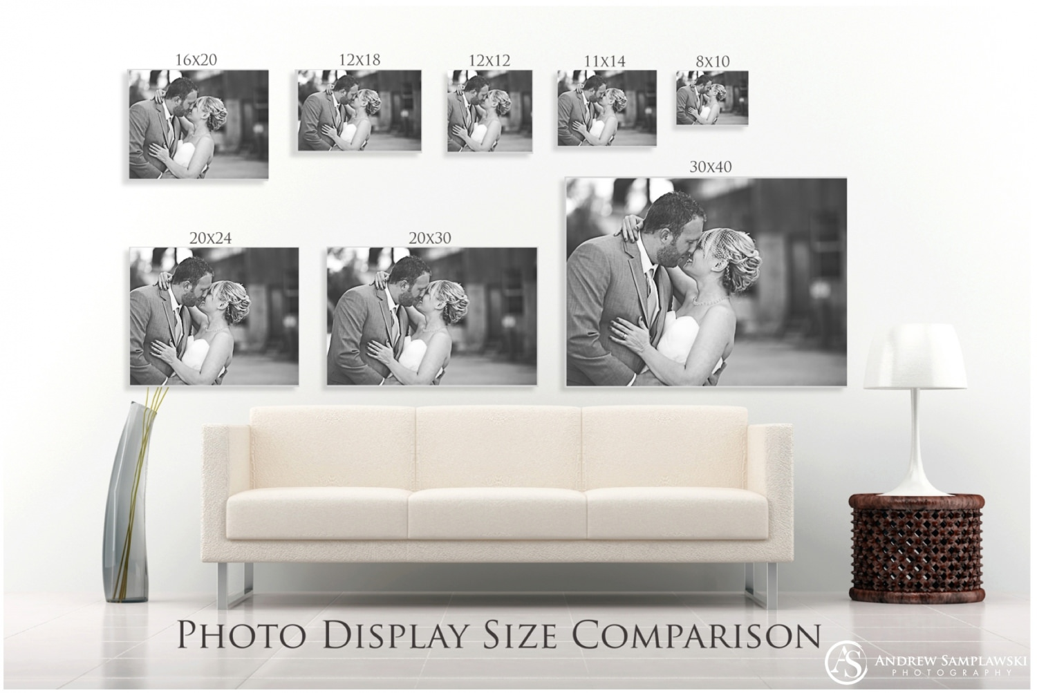 metadata: Wedding and family photographer, Andrew Samplawski, shares tips on the appropriate sizes for wall art and collages when using portraits in home décor.